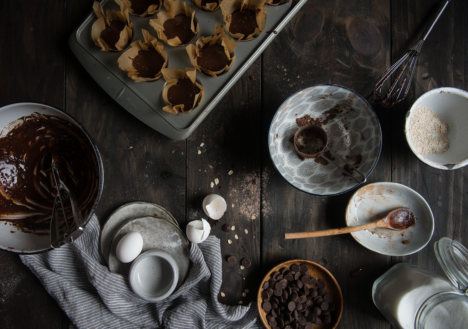 double chocolate muffins with salted caramel sauce, from the top with cinnamon cookbook!