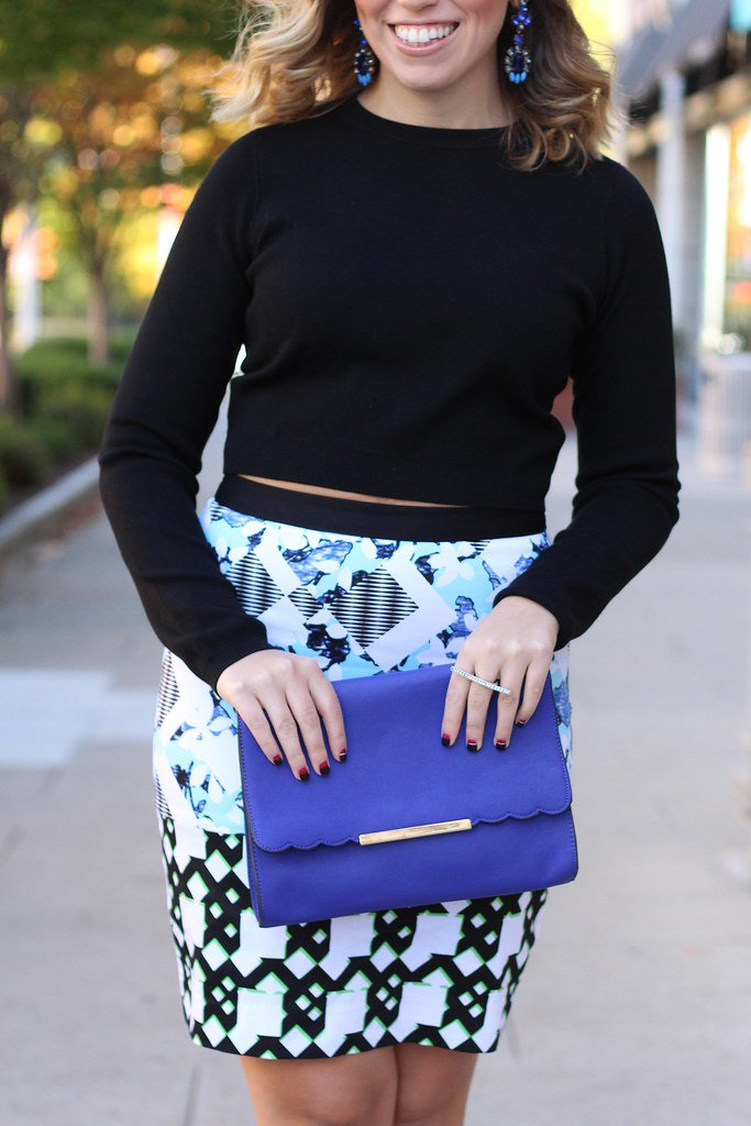 The Glam Factor | Printed Skirt & Cropped Sweater | #LivingAfterMidnite