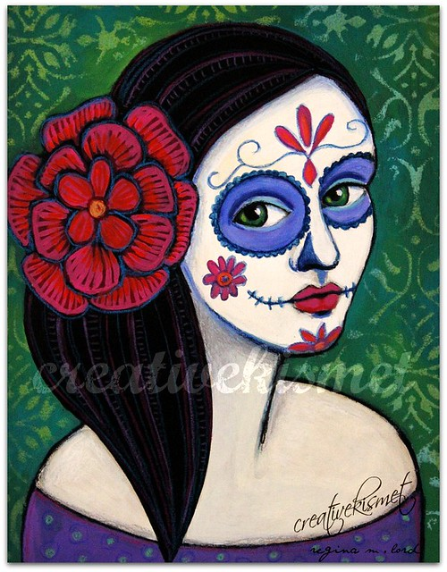 day of the dead painted face - art by Regina Lord