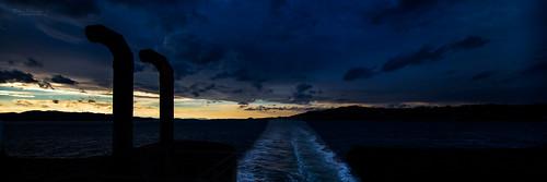 blue sunset orange weather silhouette yellow norway dusk bluehour ombo rogaland weatherfront panoramabilde judaberg boknafjorden tjul normannphotography normannphotgraphy