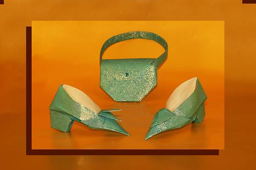 Origami Shoes (Yoshihide Momotani) and Origami Handbag (Makoto Yamaguchi)