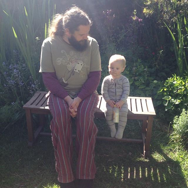 My boys sitting in the sun in their jammies #babyjagoe @xavcob