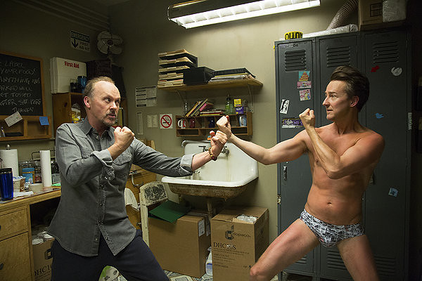 Michael Keaton and Edward Norton duke it out as pretentious thespians in BIRDMAN OR (THE UNEXPECTED VIRTUE OF IGNORANCE).