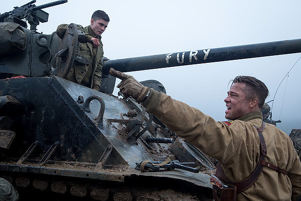 Logan Lerman and Brad Pitt share in the horrors of war in FURY.