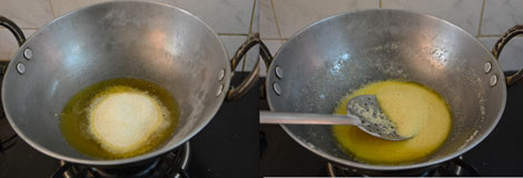 frying rava for pineapple kesari