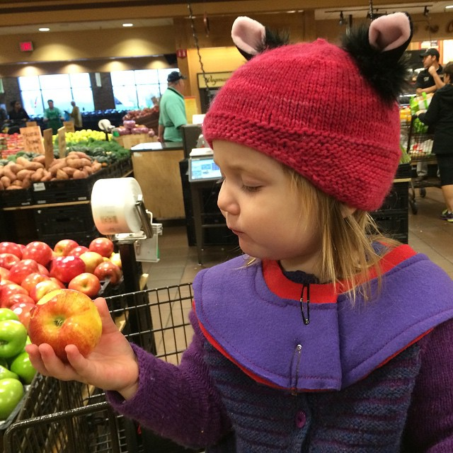 Super Madrigal 2.0 enjoys a mini-apple at Wegmans.
