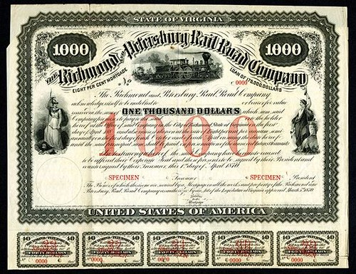 Lot 400 Richmond and Petersburg Rail Road Company, 1870 Specimen Bond