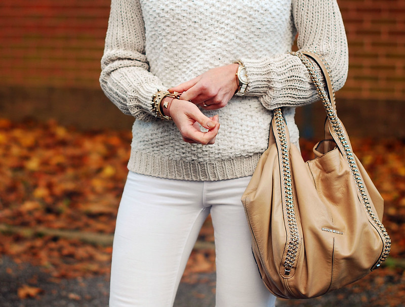 Winter whites (skinny jeans and textured sweater) - over 40 fashion