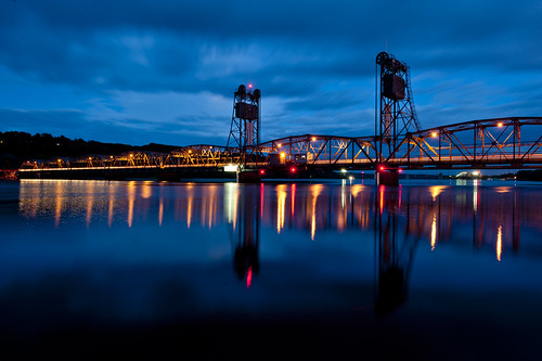 bridge blue minnesota reflections lift hour stillwater