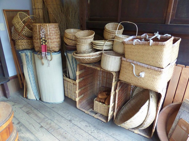 Baskets inside the Maruni Shoten Kitchenware Store