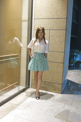 White shirt and Gingham miniskirt_1