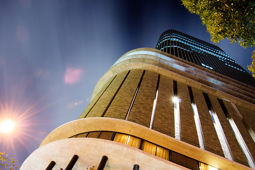 sky building japan architecture night long exposure perspective osaka upward toward