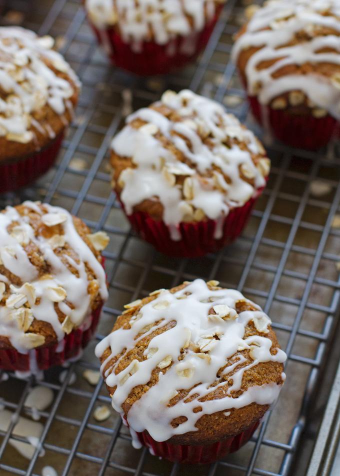 Healthy Apple Muffins with Vanilla Glaze  - Light on the sugar but SO GOOD! #applemuffins #muffins #healthymuffins   Littlespicejar.com
