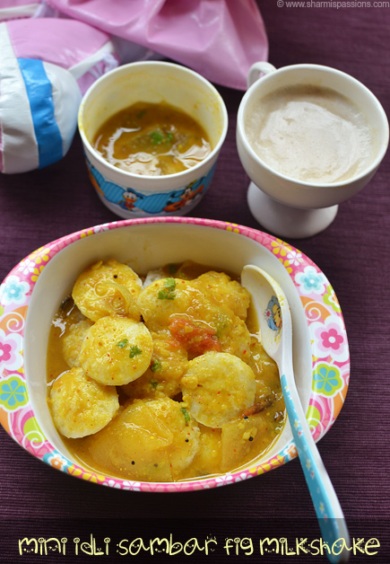 Mini Idli Sambar, Fig Milkshake