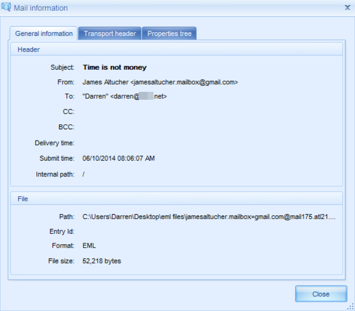 Screen shot showing .eml email file sender and recipient information.