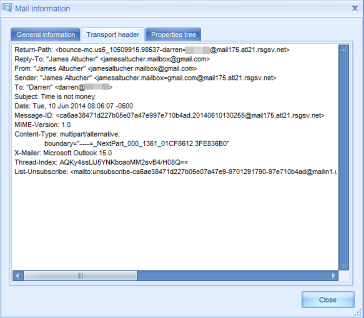 Screen image of .eml file transport header for an email that has traversed the internet.