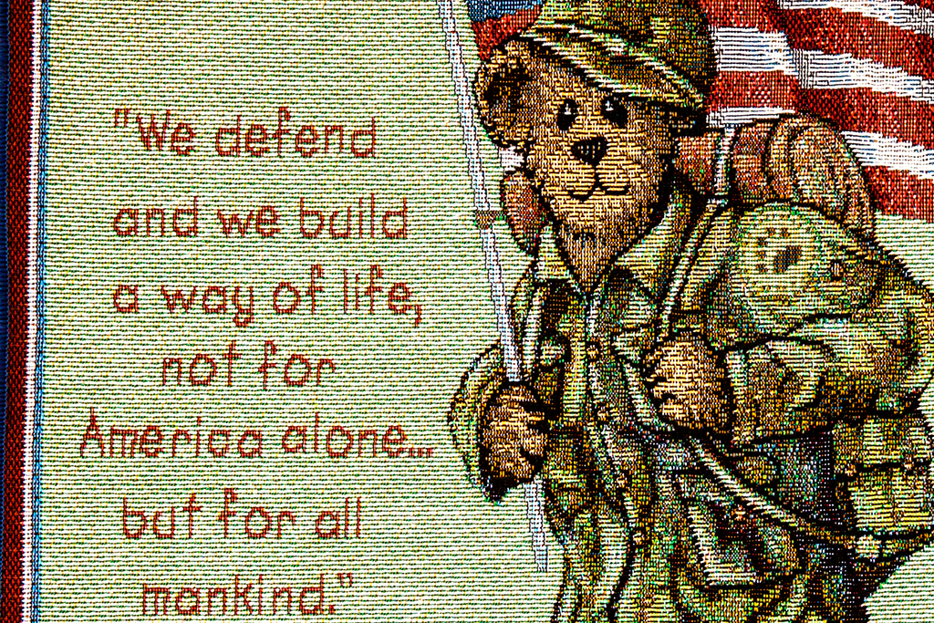 Patriotic-bear-soldier-and-Frankin-D-Roosevelt-quotation--McCook-(detail)