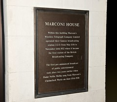 Photo of Guglielmo Marconi, Wireless Telegraph Company Limited, and Nellie Melba bronze plaque