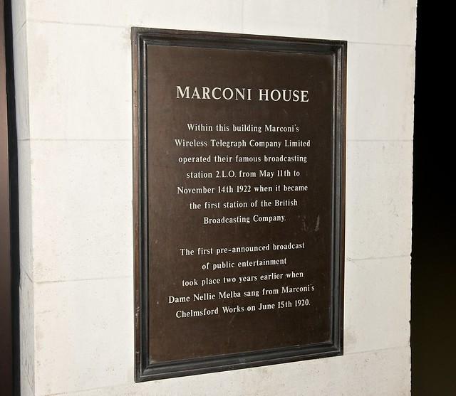 Photo of Guglielmo Marconi, Wireless Telegraph Company Limited, and Nellie Melba bronze plaque