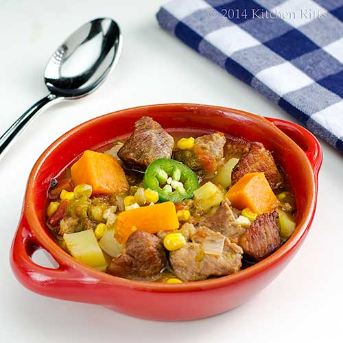 Green Chile Stew with Pork in bowl