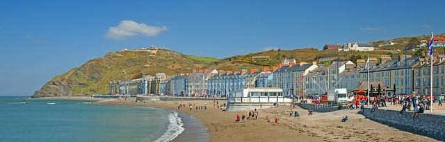 Aberystwyth, the North beach and  Constitution Hill. Aberystwyth, Ceredigion, Wales