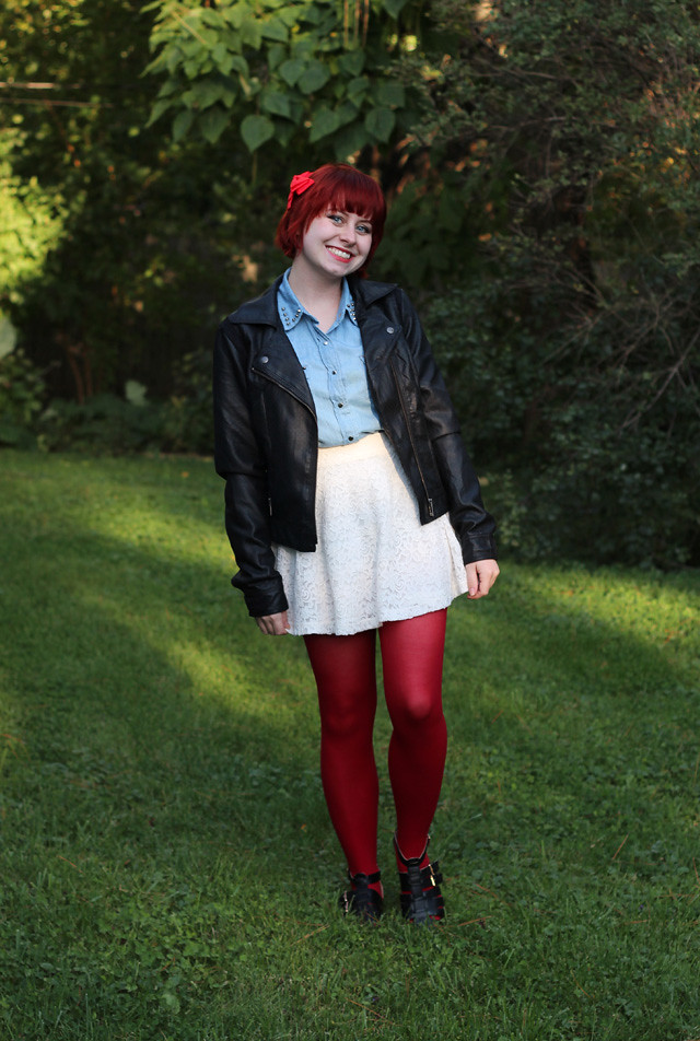 Black Leather Jacket, Denim Shirt, White Lace Skirt, and Red Tights