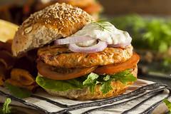 Homemade Organic Salmon Burger