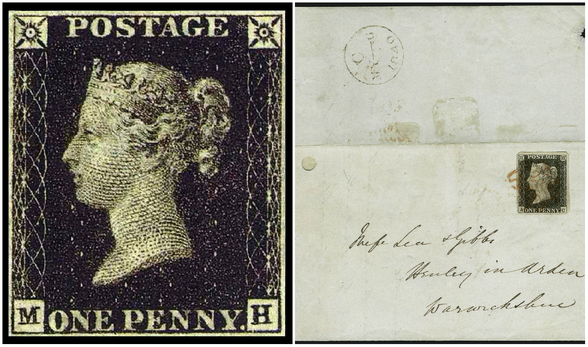 "The world's first postage stamp, the ""Penny Black"" on the first day of valid use, May 6, 1840"