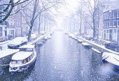Snow was falling like stars in the heart of Amsterdam
