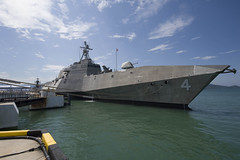 USS Coronado (LCS 4) pulls alongside the pier arriving in Langkawi, Malaysia, March 25. (U.S. Navy/MC3 Amy M. Ressler)