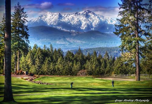 washingtonstate pacificnorthwest hoodcanal alderbrookgolfandyachtclub golfers golfing mtwashington mtelliinor olympicmountains