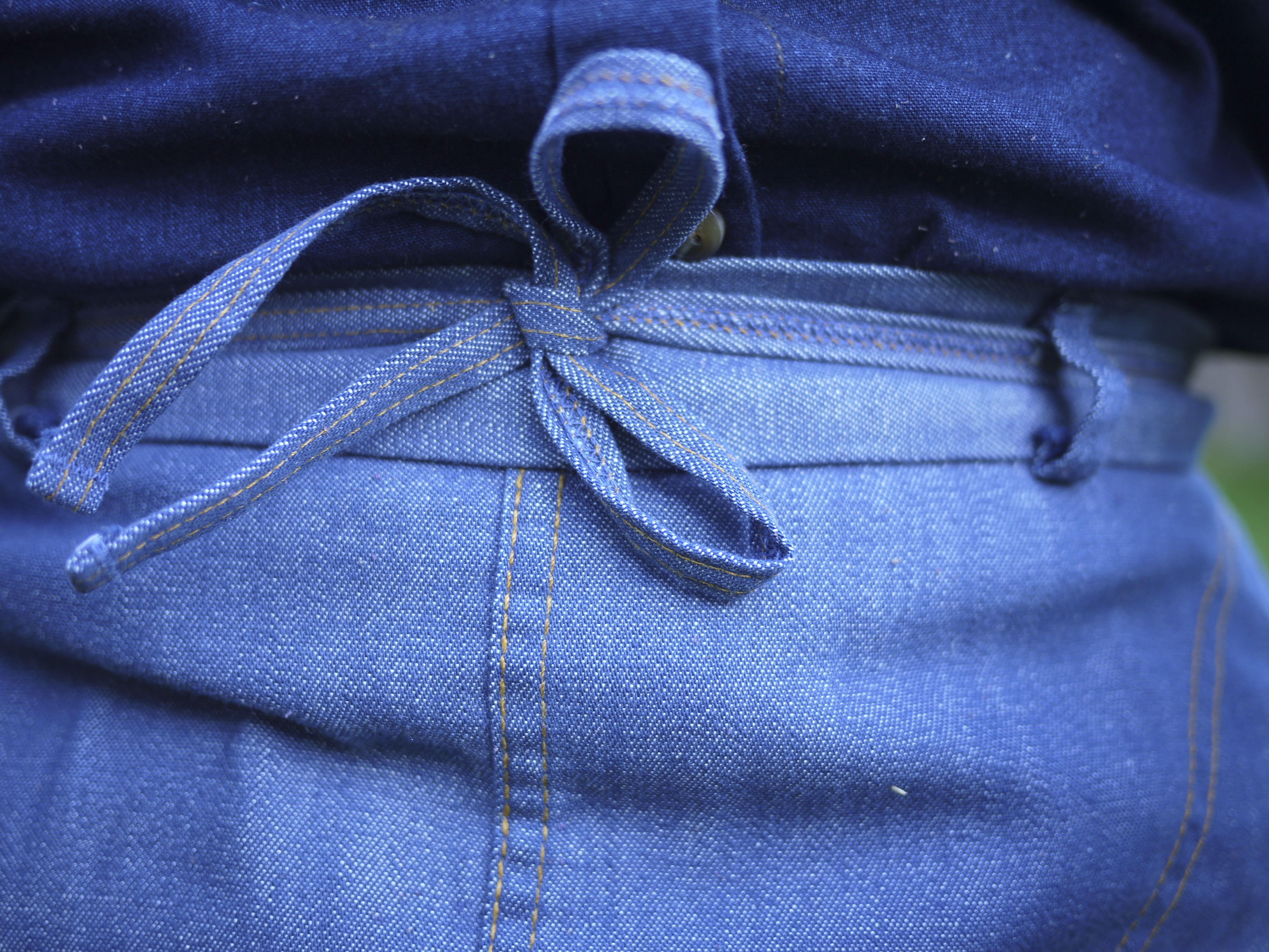 Nash and Russo :: Detail, vintage denim wrap skirt, chambray top