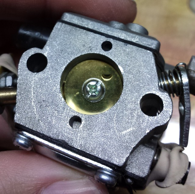 Carburetor to heat block mating surface - before