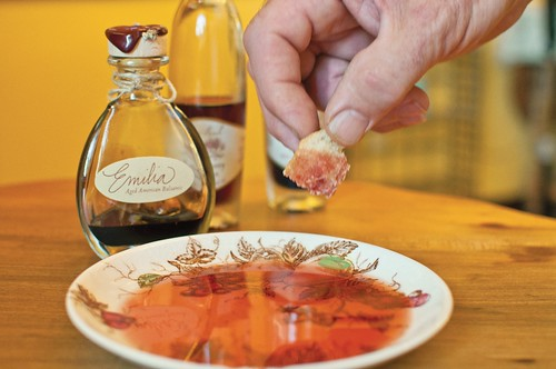 A sampling of the signature 'Emilia' blend from George Paul Vinegars of Cody, Nebraska. (Photo Credit Alan J. Bartels / NebraskaLife)