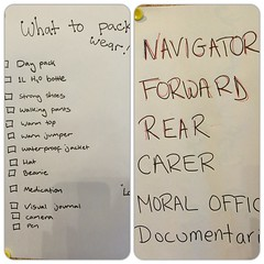 Packing list & team roles for today\'s hike with gr7 #yisfs