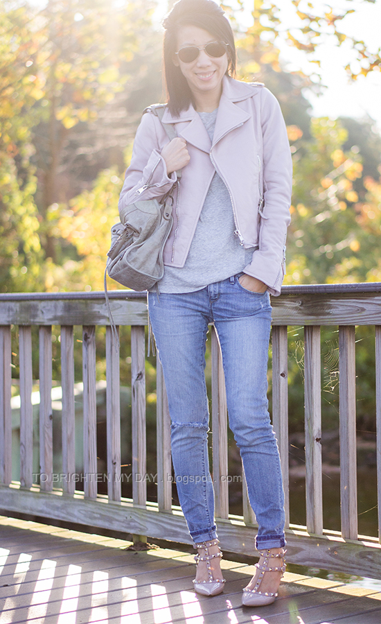 lilac leather jacket, gray tee, distressed jeans, studded pumps