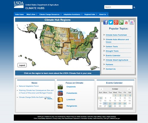 The USDA Climate Hubs home page.