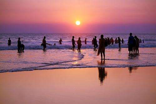 sunset sky orange sun beach colors silhouette yellow clouds sand waves colours purple 1855mm bangladesh coxsbazar 450d russelljohn