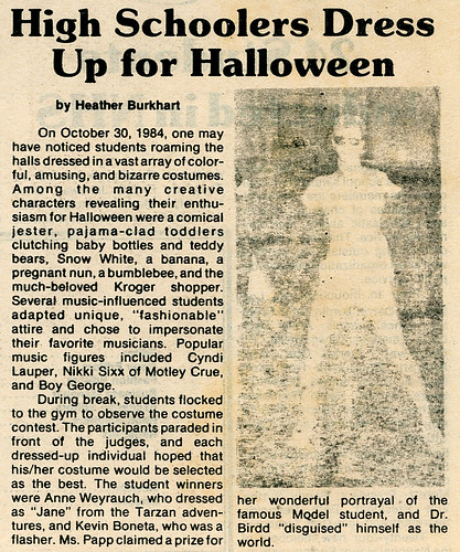 """""""The Observer"""" November 21, 1984 p1: """"High Schoolers Dress Up for Halloween"""""""