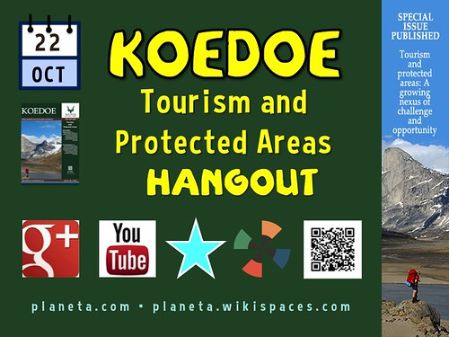 Hang out with us October 22. Koedoe Tourism and Protected Areas Hangout @OpenJournals @anna_spenceley @SueSnyman #WorldParksCongress