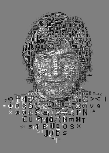 Steve Jobs: The 1 Bit Mac fonts portrait (for Typorn.org)