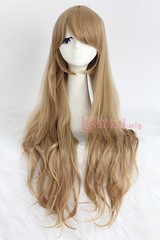80cm long brown wavy sweet Cosplay hair wig CW201E