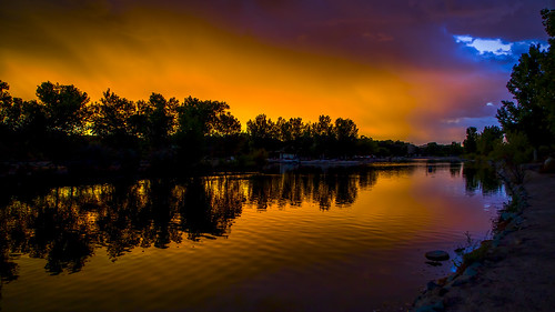 sunset sky lake newmexico reflection water silhouette clouds landscape colorful dusk albuquerque nm tingleybeach grantcondit