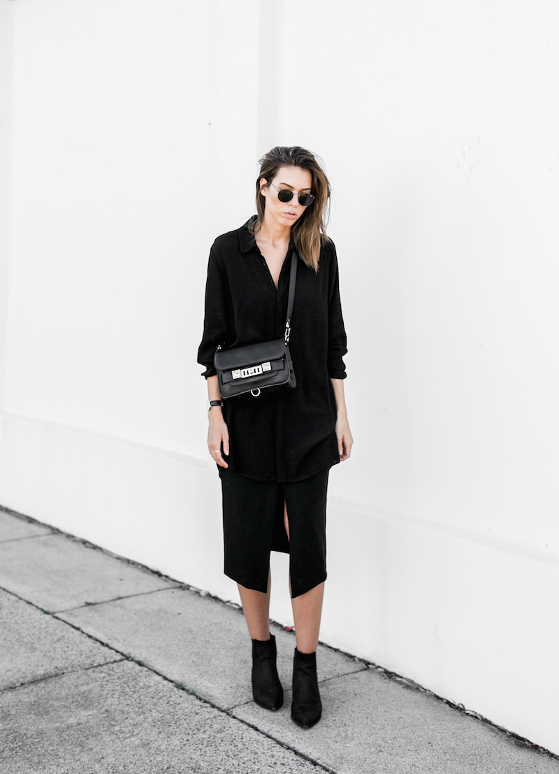 MODERN LEGACY fashion blog all black street style monday Proenza Schouler PS11 BC the Label Acne Jensen suede ankle boots (3 of 4)