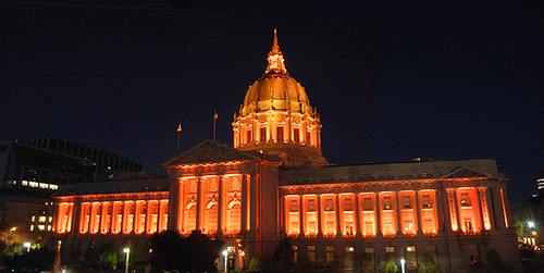 DSCN7873+4 - San Francisco City Hall in SF Giants' Orange Glow - 700