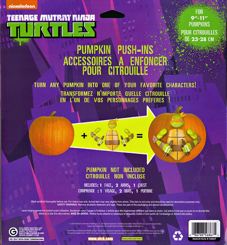 "GEMMY :: Nickelodeon  TEENAGE MUTANT NINJA TURTLES;  ""MICHELANGELO""  PUMPKIN PUSH-IN DECORATING KIT iv / ..card backer  (( 2014 ))"