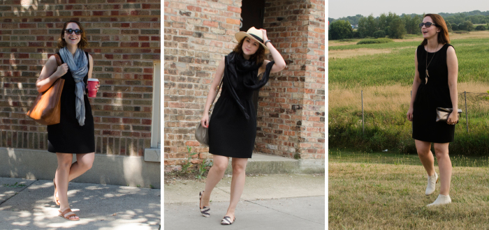 october outfit, three ways to wear, j.crew camille dress, camille dress review, black camille dress, size 4, j.crew dress review
