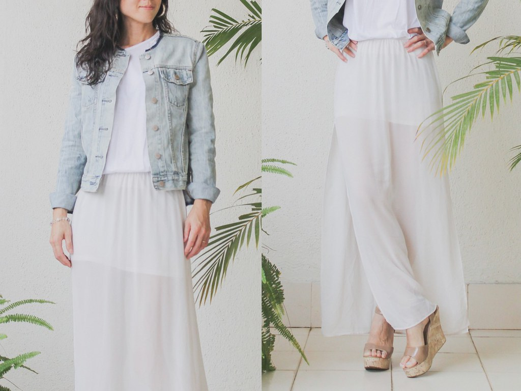 HM sheer maxi skirt denim jacket