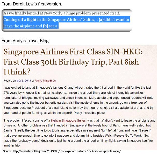 Derek Low alleged plagiarism - landing problems