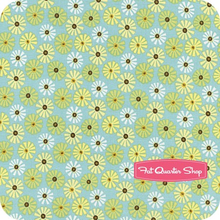 Roots & Wings Blue Daisy Yardage